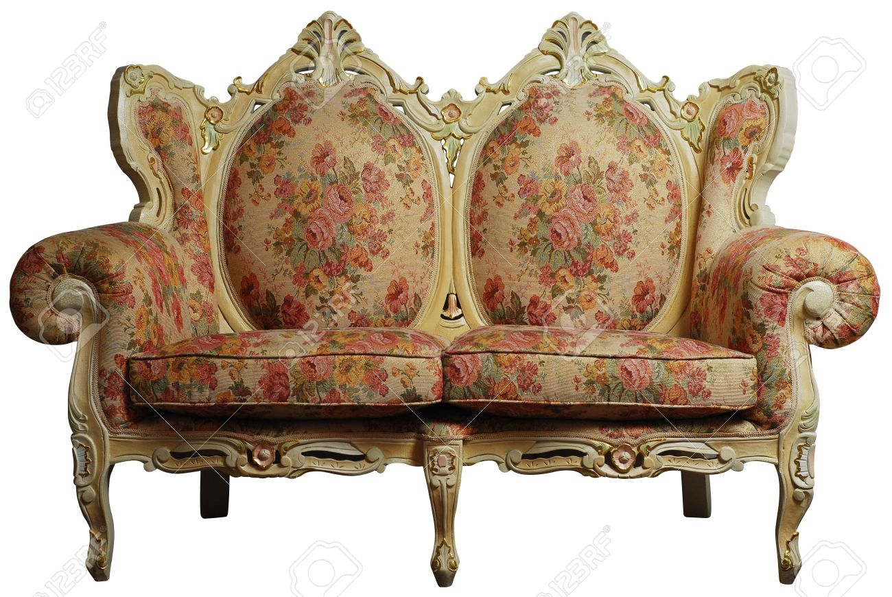 Classical Antique Sofa Chair With Floral Pattern Stock Photo Throughout Antique Sofa Chairs (Image 10 of 15)