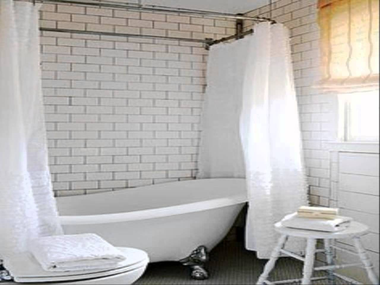 Claw Foot Tub Wall Mounted Shower Curtain Rod Add A Shower With For Claw Tub Shower Curtains (Image 8 of 25)