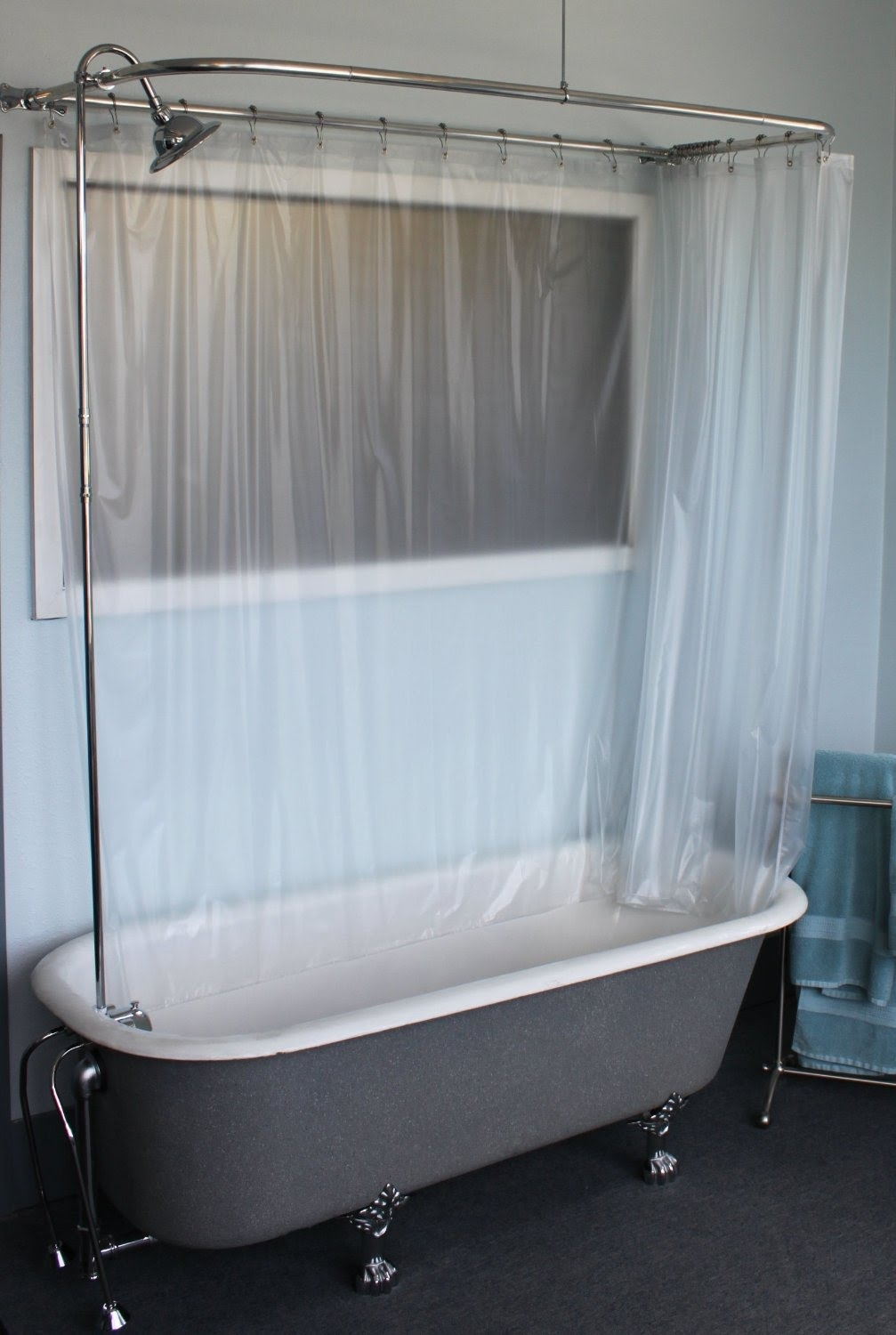 Claw Foot Tub Wall Mounted Shower Curtain Rod Add A Shower With Throughout Claw Tub Shower Curtains (Image 10 of 25)