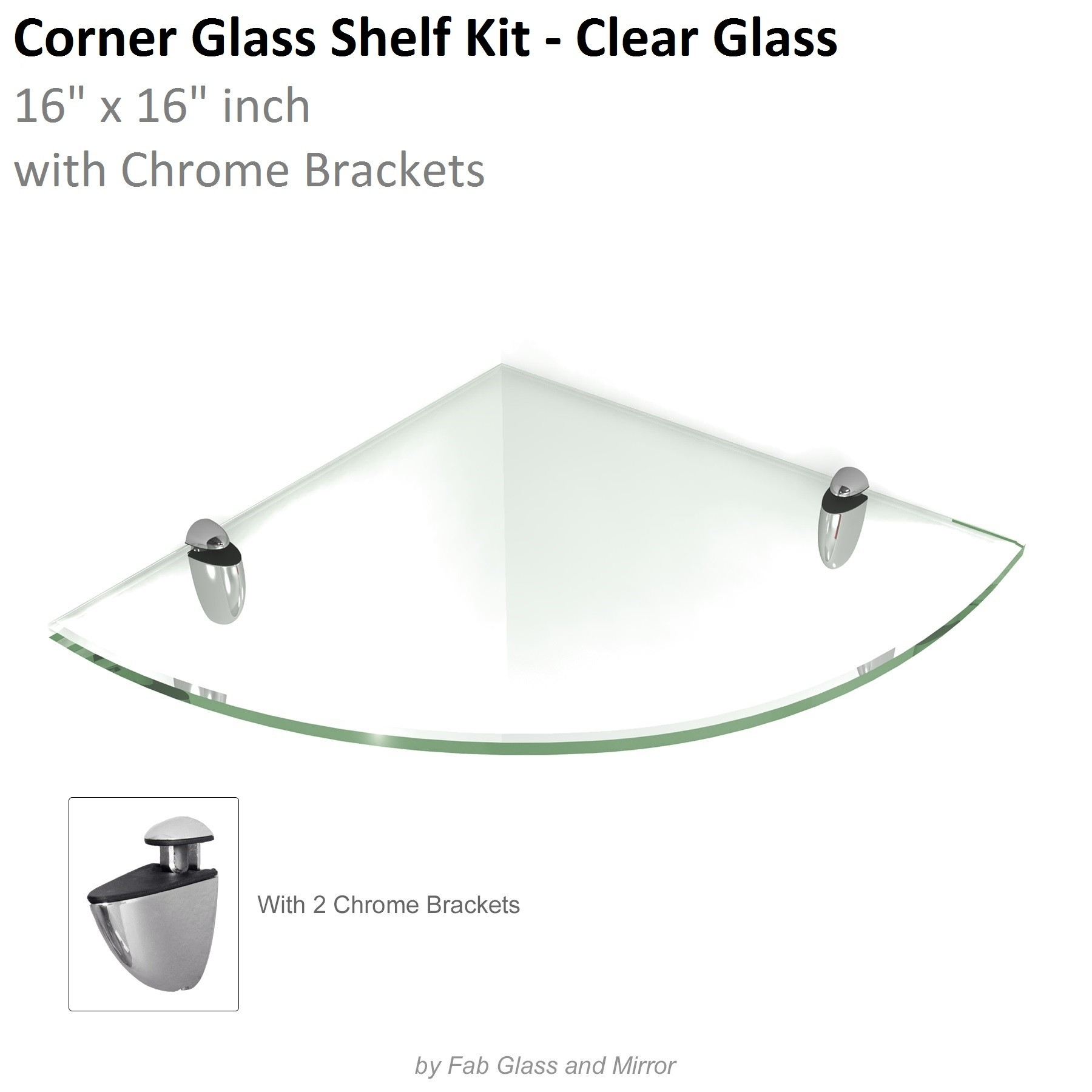 Clear Floating Glass Shelves Corner 16×16 Inch W Brackets Pertaining To Floating Corner Glass Shelves (Image 2 of 15)