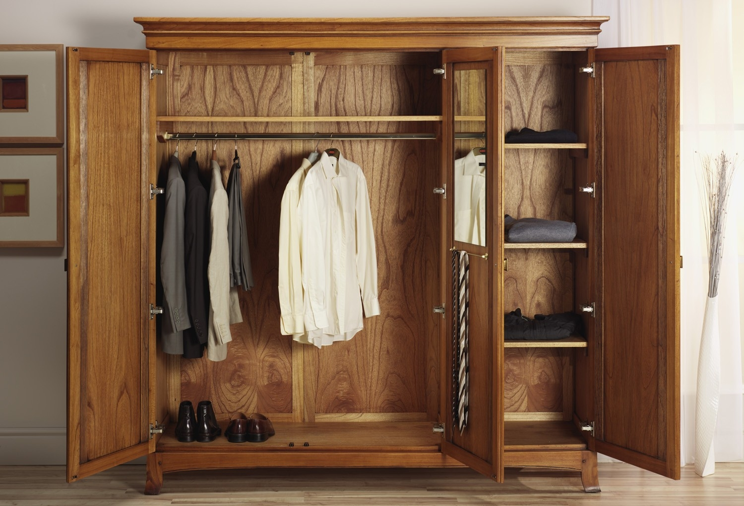 Clothing Armoire Large Image For Corner Clothing Armoire Quick Pertaining To Solid Wood Wardrobe Closets (Image 7 of 25)