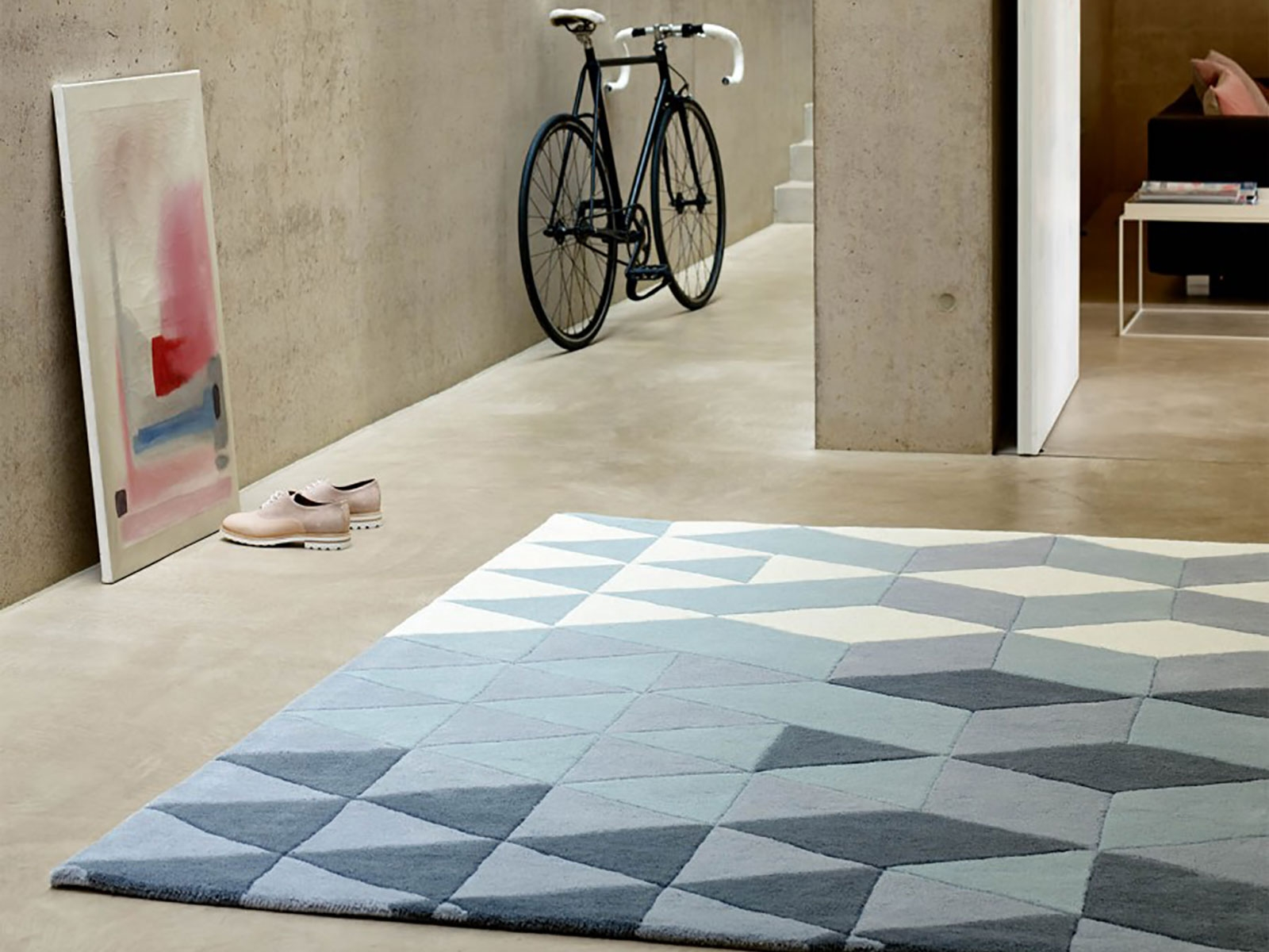 Cluster 120x170cm Rug 01 Bluecream Cream Cream Rugs And Rugs Intended For Light Blue And Cream Rugs (Image 4 of 15)