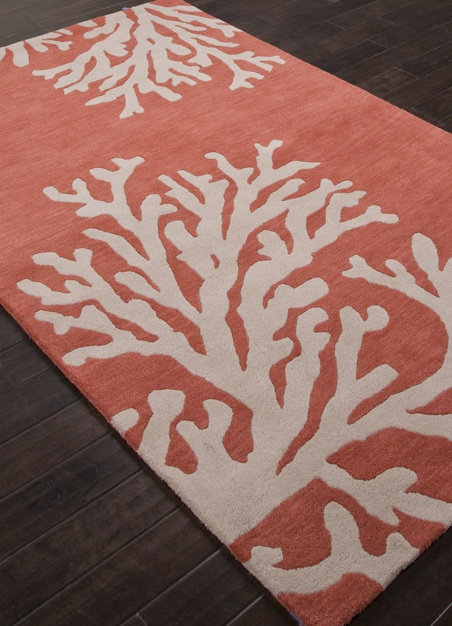 Coastal Seaside Coral Rug Apricot Coral Rug Pertaining To Seaside Rugs (View 5 of 15)