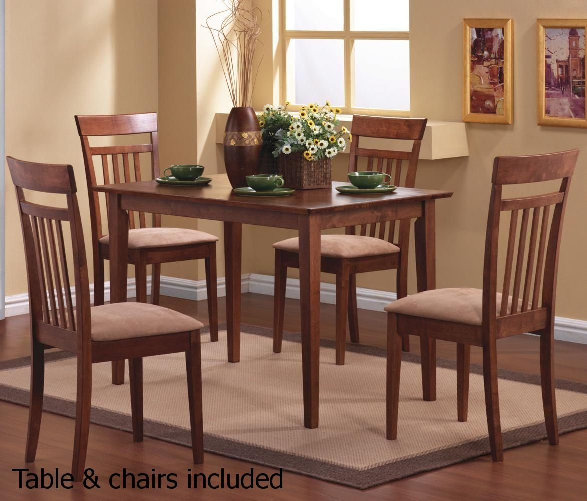 Coaster 150430 Brown Wood Dining Table And Chair Set Steal A For Dining Table With Sofa Chairs (Image 7 of 15)