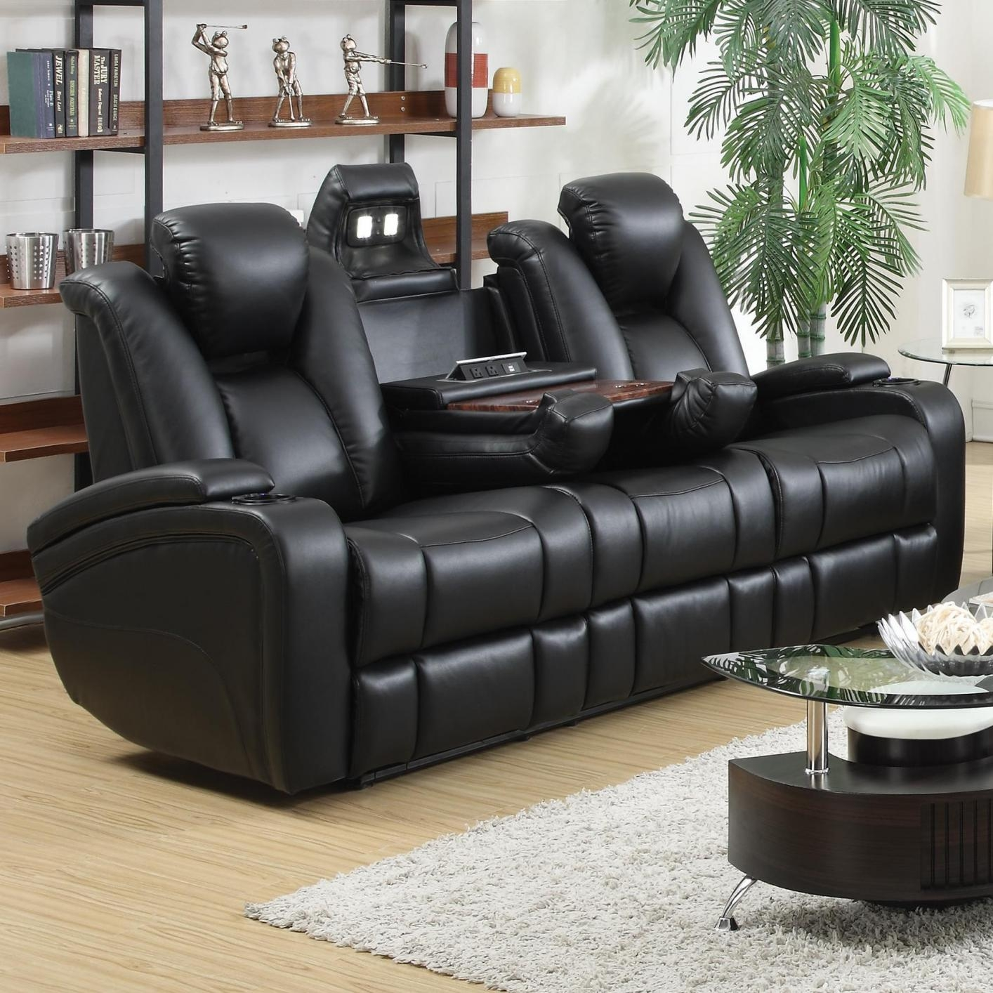 Coaster 601741p Black Leather Power Reclining Sofa Steal A Sofa For Sofa Chair Recliner (Image 5 of 15)