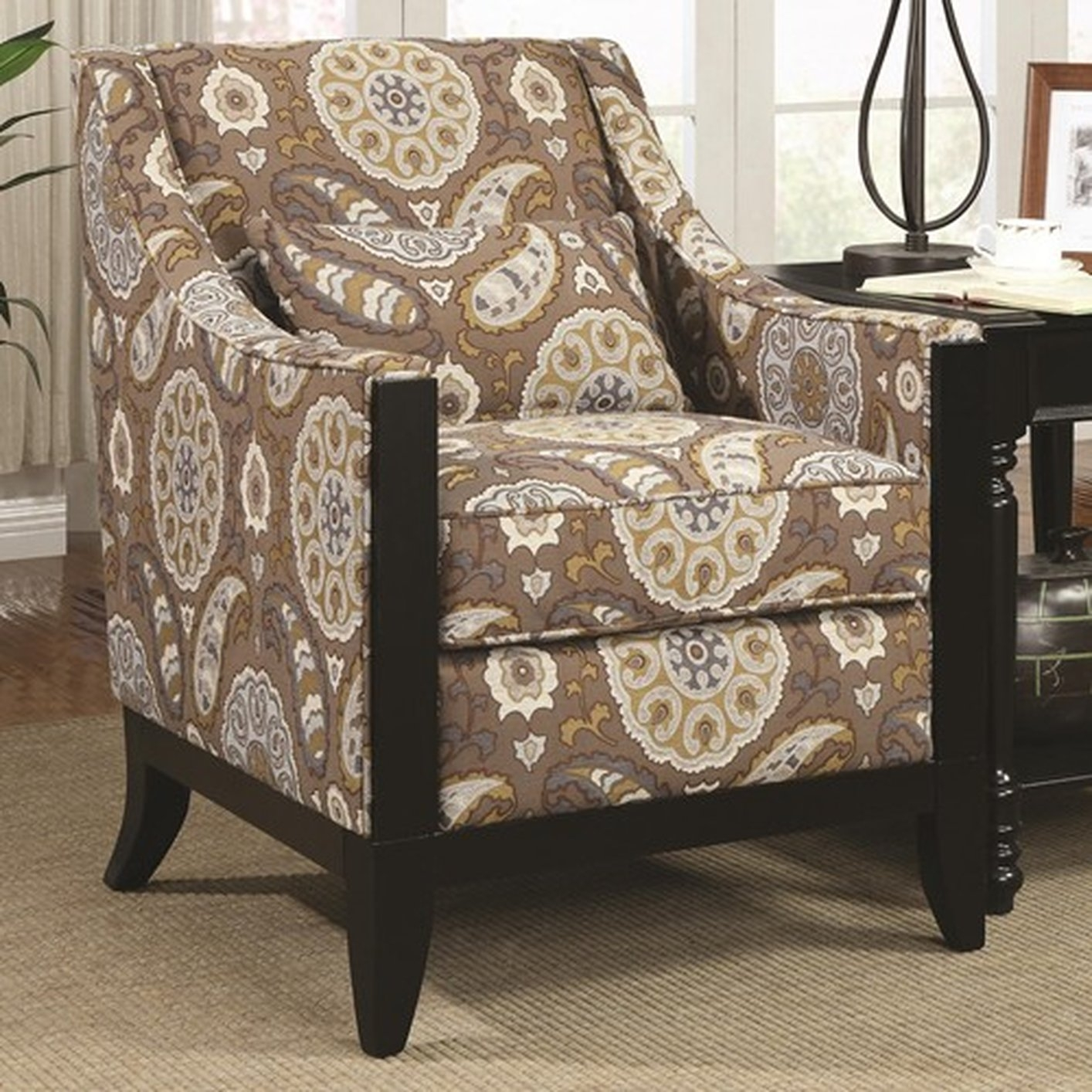 Coaster 902091 Brown Fabric Accent Chair Steal A Sofa Furniture Intended For Accent Sofa Chairs (Image 6 of 15)