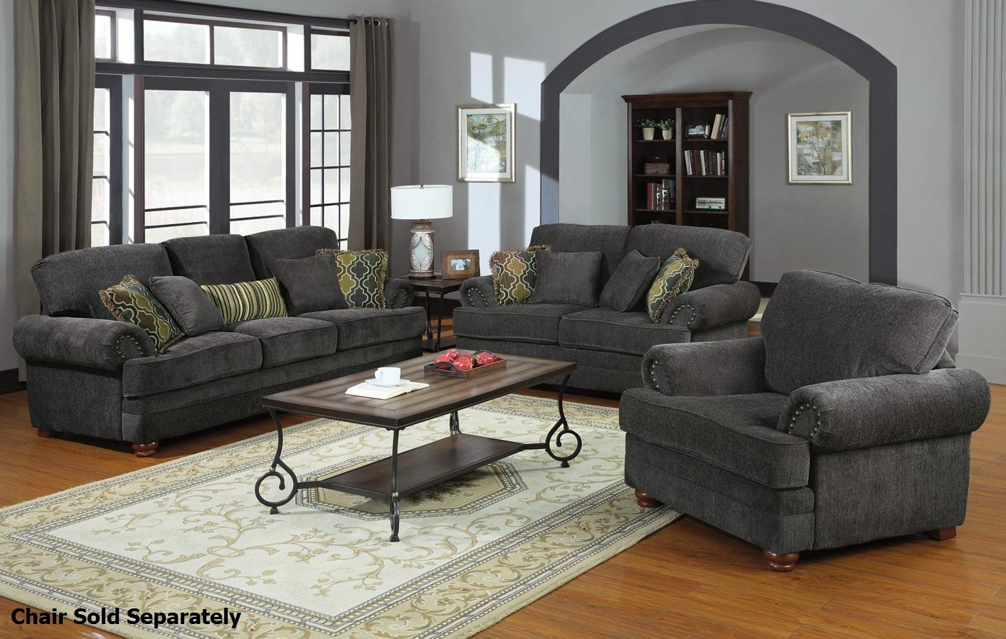 Coaster Colton 504401 504402 Grey Fabric Sofa And Loveseat Set Throughout Sofa Loveseat And Chairs (Image 3 of 15)