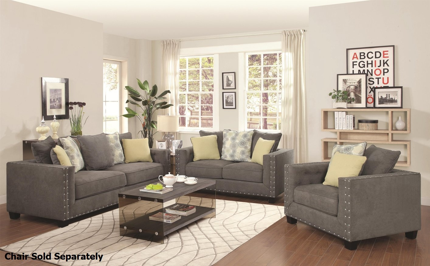 Coaster Kelvington 501421 501422 Grey Fabric Reclining Sofa And Within Sofa Loveseat And Chairs (Image 4 of 15)
