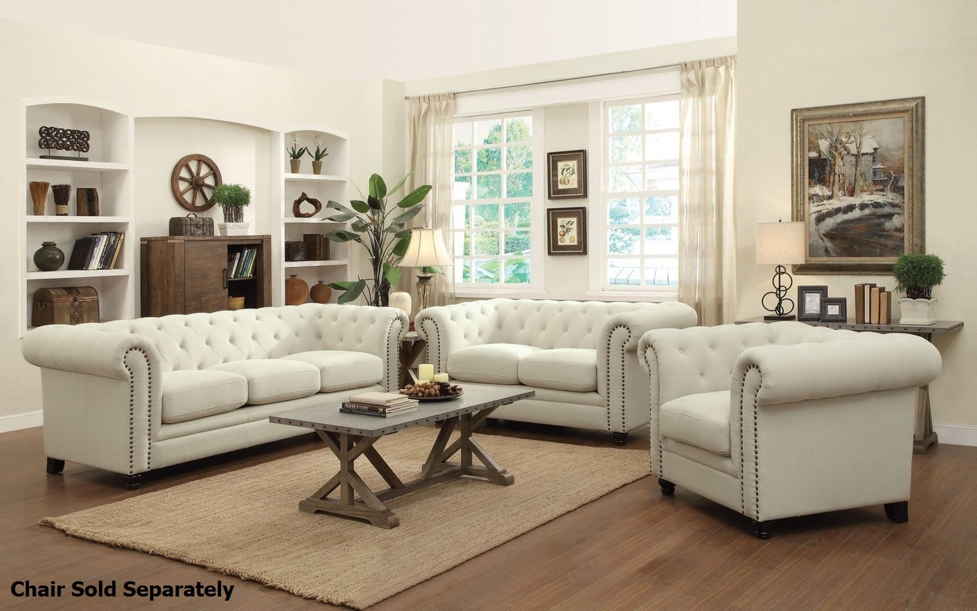 Coaster Roy 504554 504555 Beige Fabric Sofa And Loveseat Set Within Sofa Loveseat And Chairs (Image 5 of 15)