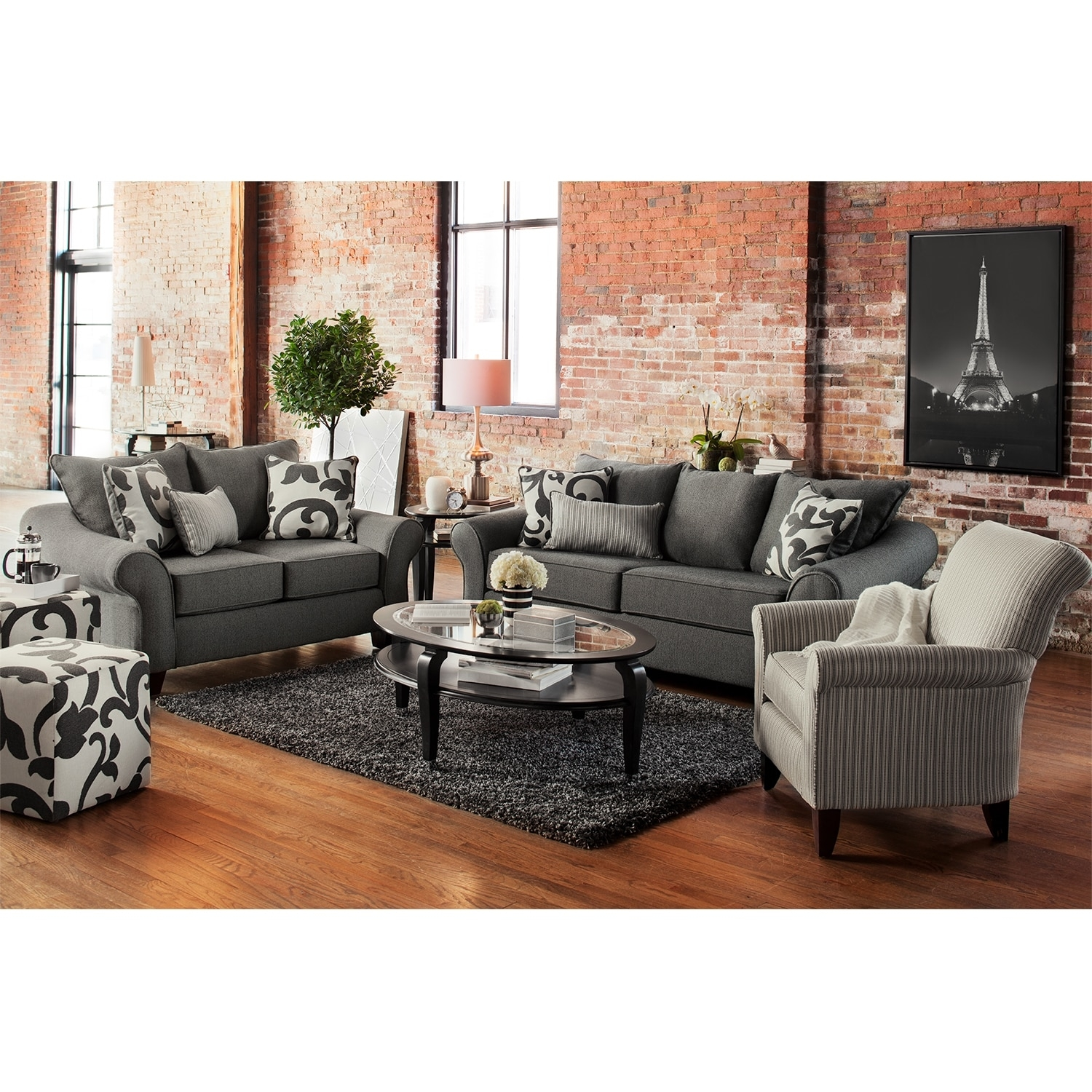 Colette Sofa And Accent Chair Set Gray Value City Furniture In Sofa And Accent Chair Set (Image 4 of 15)