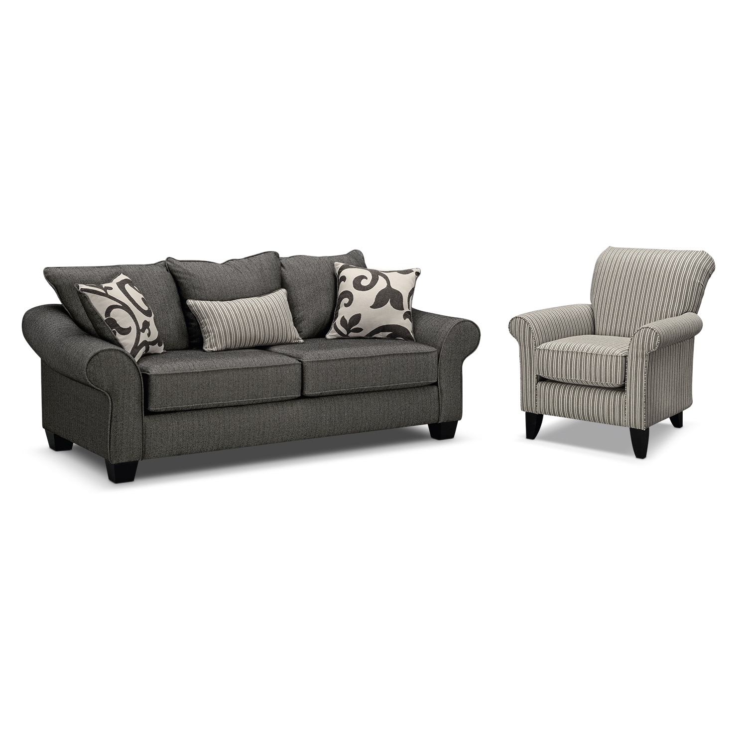 Colette Sofa And Accent Chair Set Gray Value City Furniture Pertaining To Sofa And Accent Chair Set (Image 5 of 15)