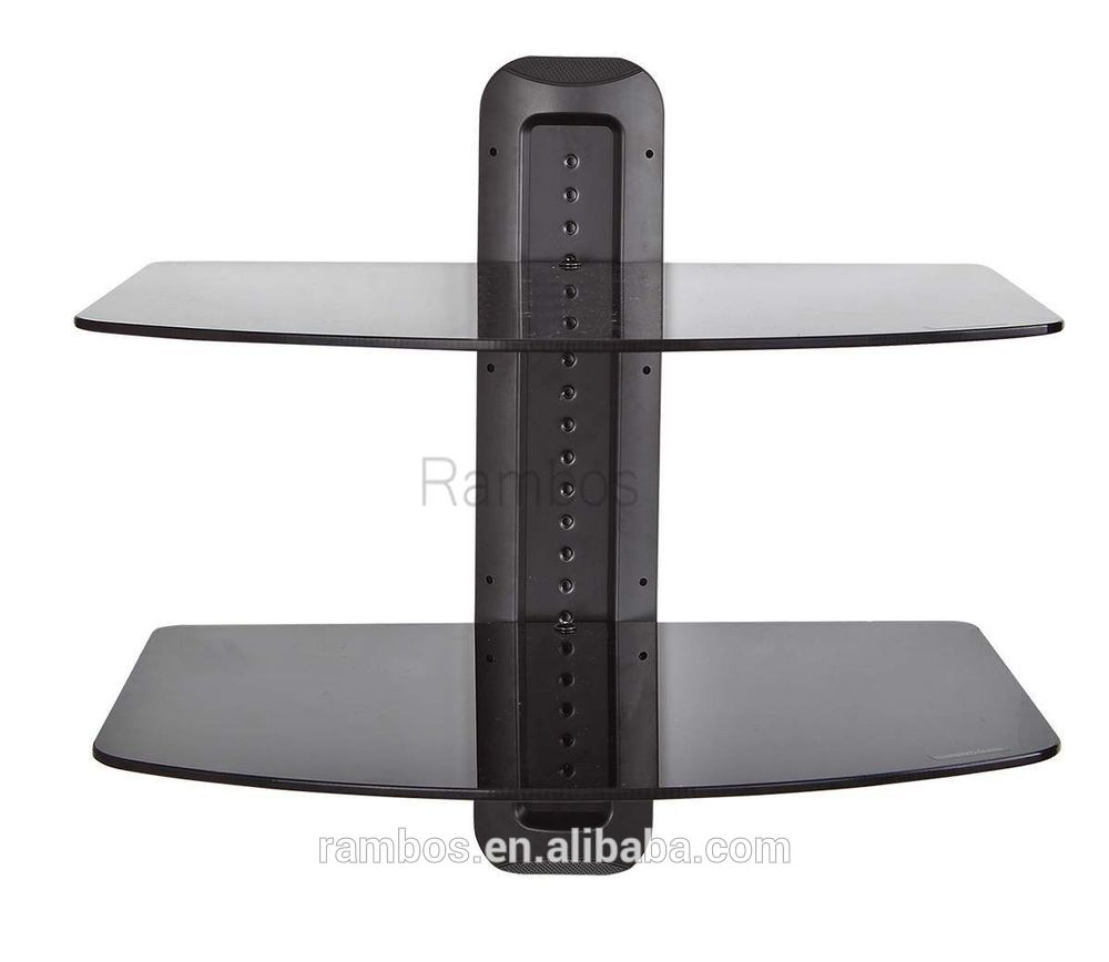 Component Dual Glass Shelf Av Dvd Player Wall Mount Shelf System Throughout Glass Shelf For Dvd Player (Image 4 of 15)