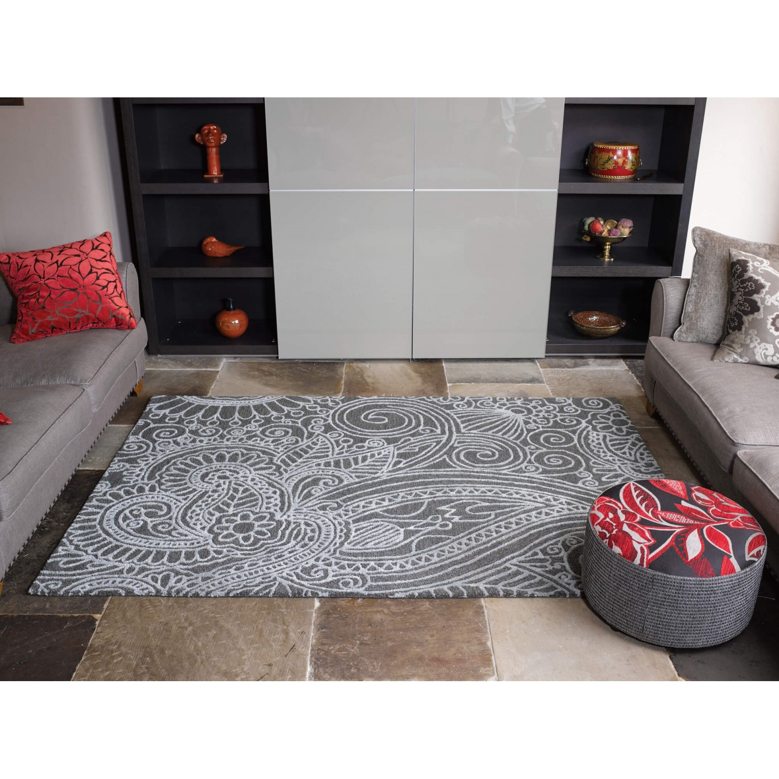 Contemporary Textures Mendhi Grey Wool Rugs From E Rugs With Regard To Small Wool Rugs (View 12 of 15)