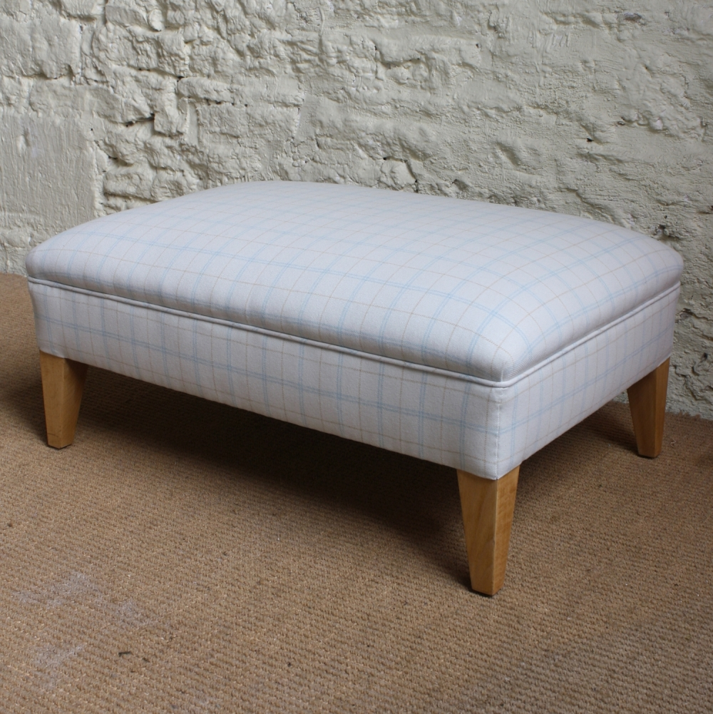Contemporary Withington Tweed Footstool Footstools Upholstery For Upholstered Footstools (Image 2 of 15)
