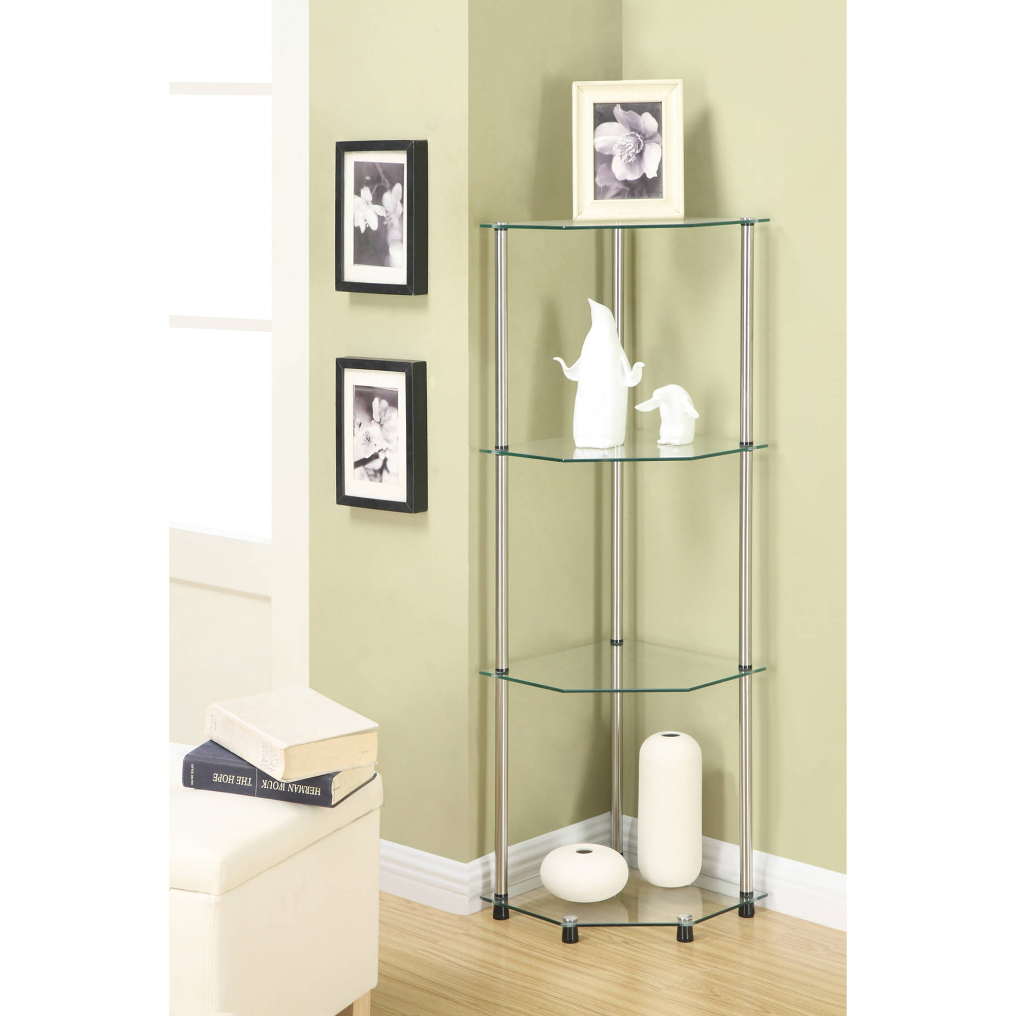 Convenience Concepts Designs2go 4 Tier Corner Glass Bookcase Pertaining To Glass Corner Shelves (View 7 of 15)