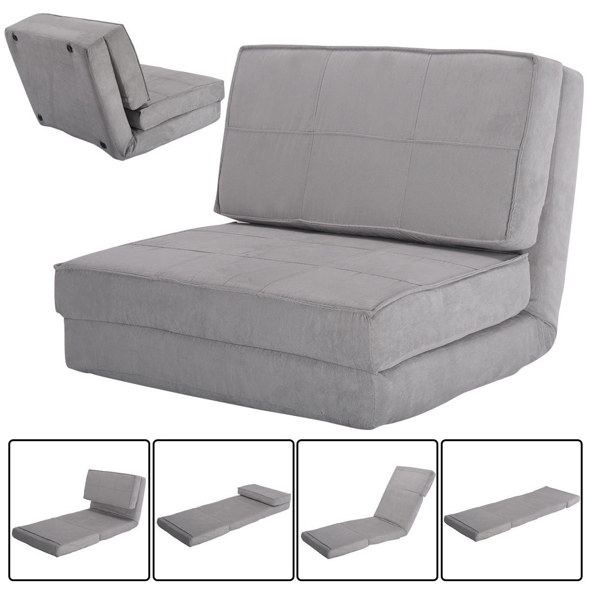 Convertible Lounger Folding Sofa Sleeper Bed Sofas Furniture Within Folding Sofa Chairs (Image 4 of 15)