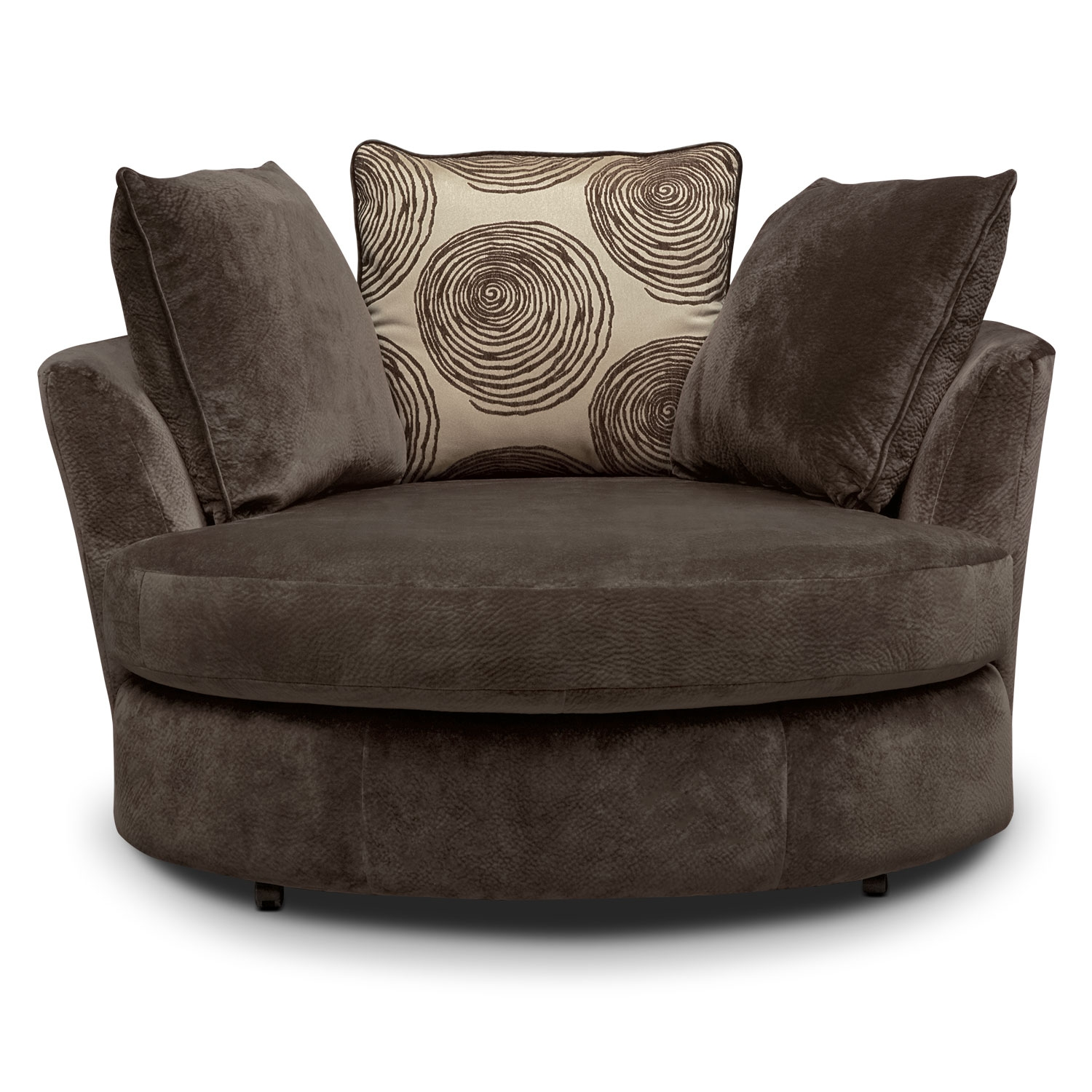 Cordelle Swivel Chair Chocolate Value City Furniture With Regard To Sofa With Swivel Chair (View 3 of 15)