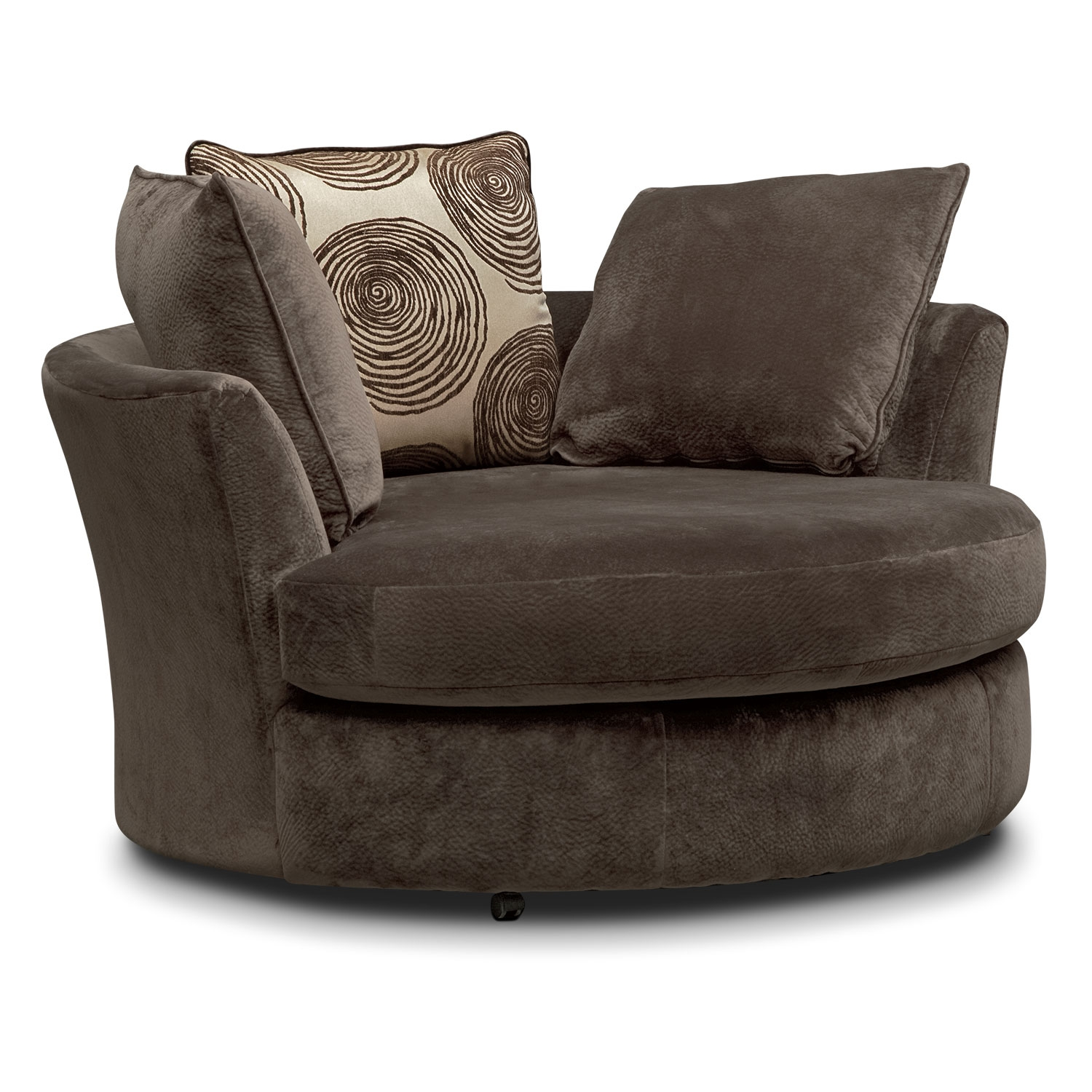 Cordelle Swivel Chair Chocolate Value City Furniture Within Swivel Sofa Chairs (Image 3 of 15)