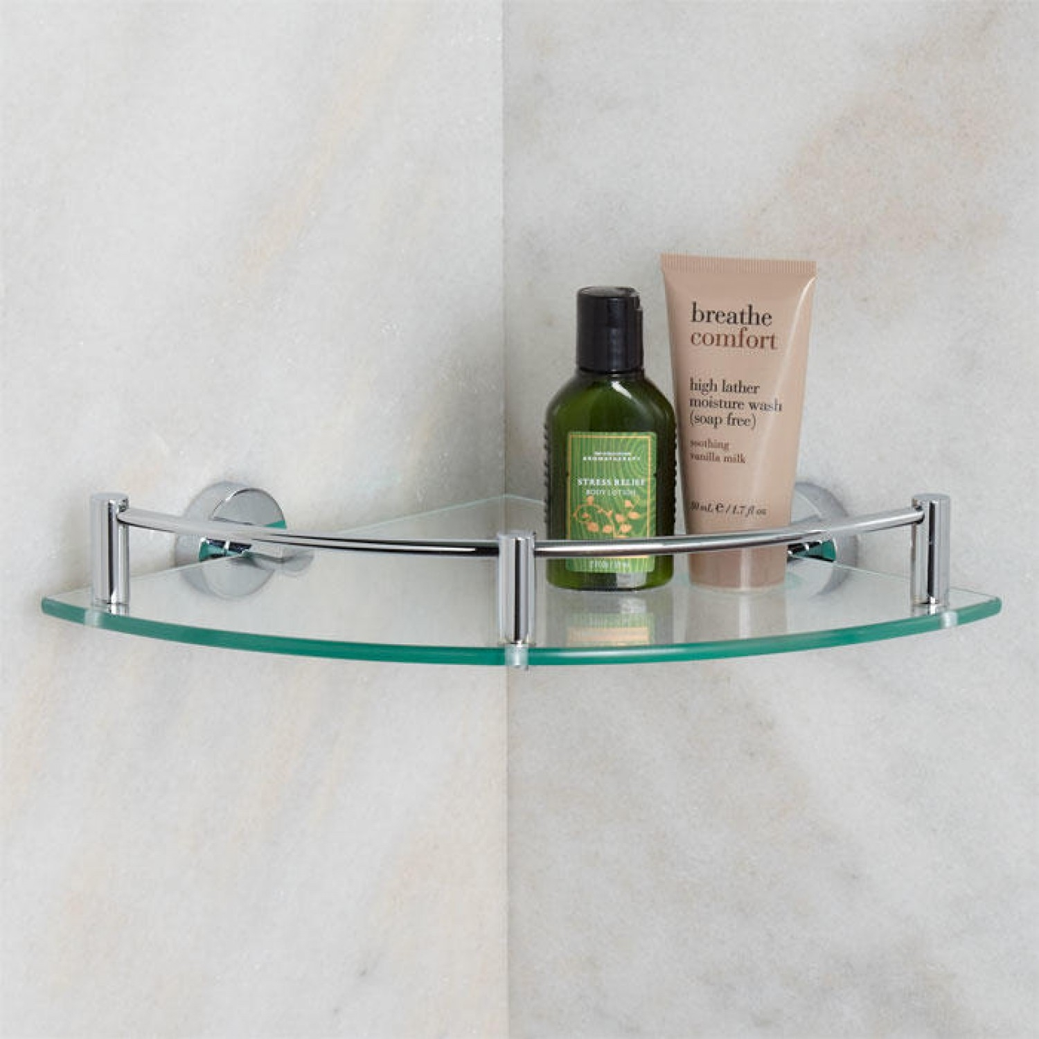 Corner Glass And Stainless Shower Shelf On The Corner Of Adorable Intended For Frosted Glass Shelves (Image 2 of 15)