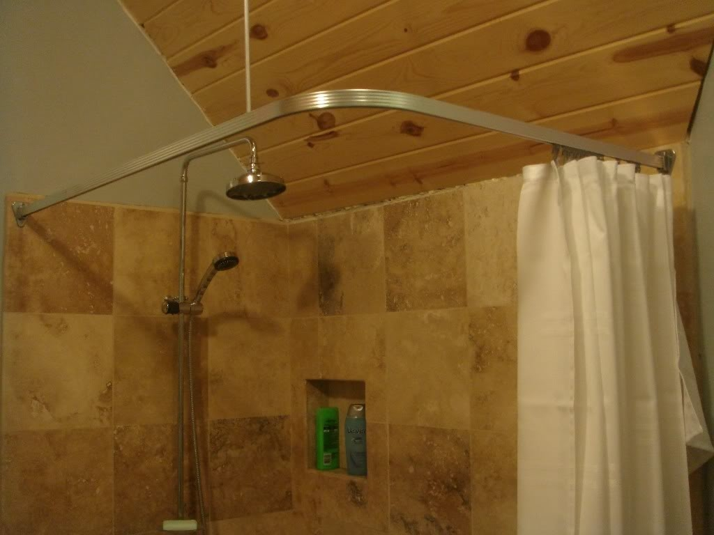 Corner Shower Curtain Rod Track Style Universal Sizechrome Pertaining To L Curtain Rods (Image 5 of 25)