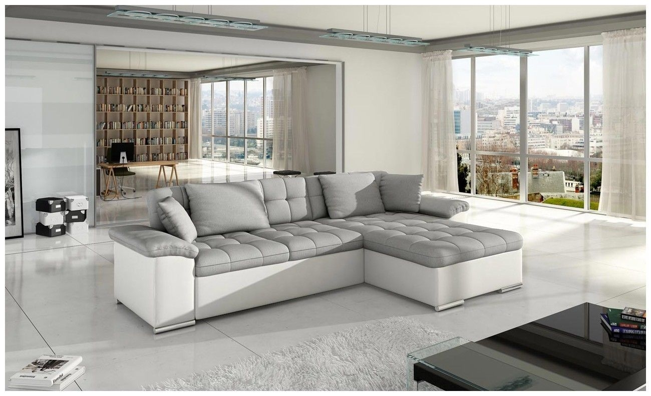 Corner Sofa Bed Leather Fabric White Grey Avellino Sofas4less Pertaining To White Leather Corner Sofa (Image 2 of 15)