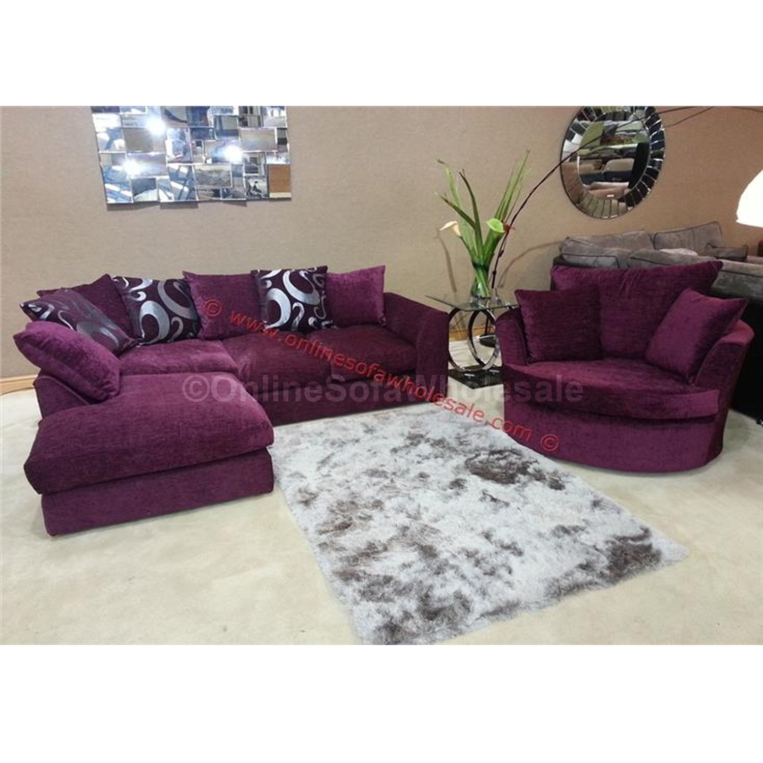 Corner Sofa Fabric Dylan Zina Left Hand Swivel Chair Purple Sofas Within Corner Sofa And Swivel Chairs (Image 8 of 15)