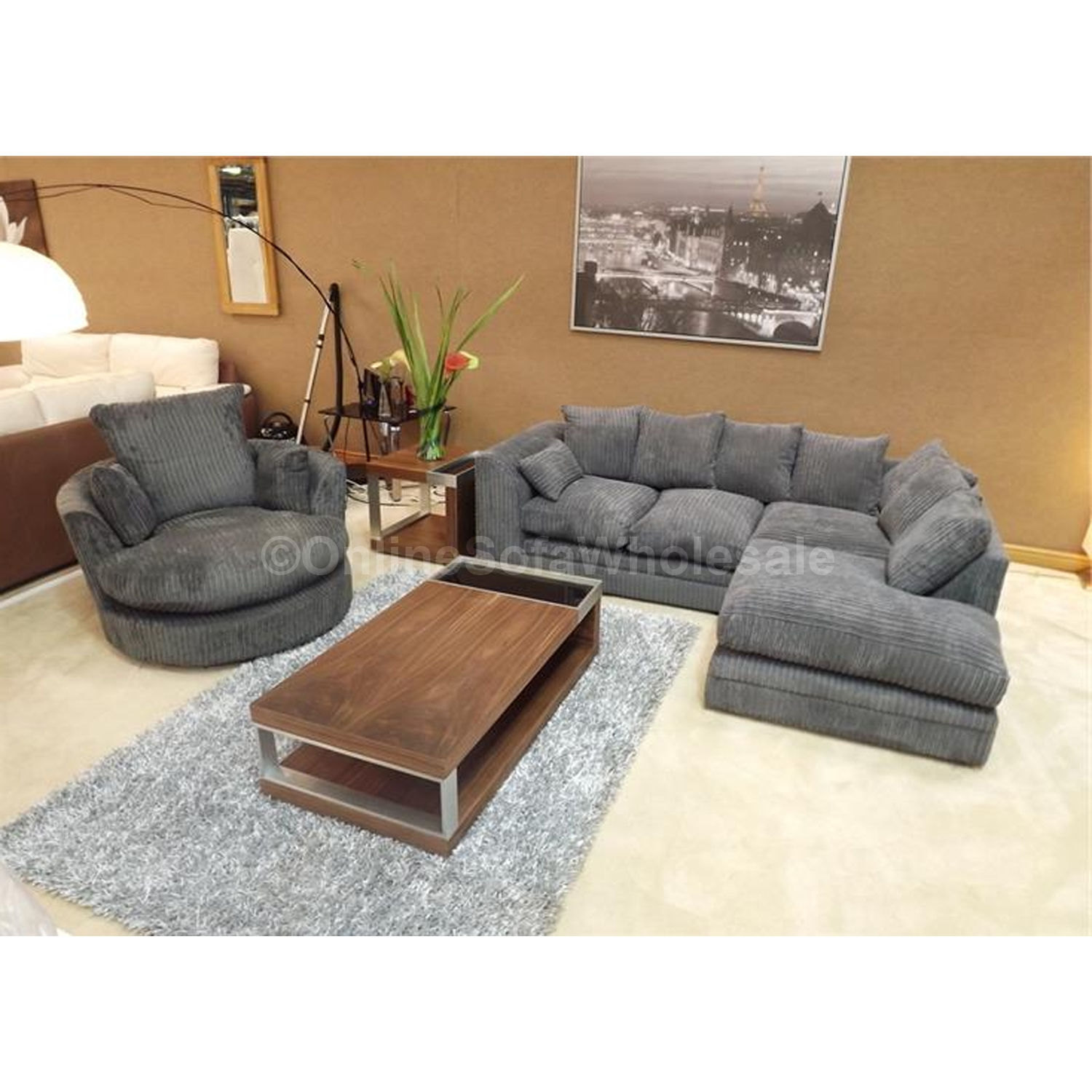 15 Corner Sofa and Swivel Chairs