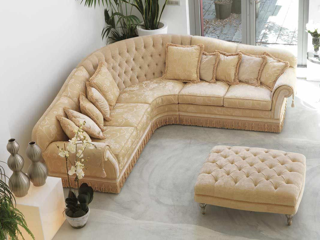 Corner Sofa Traditional Fabric 5 Seater Glicine Pigoli With Regard To Traditional Fabric Sofas (Image 3 of 15)