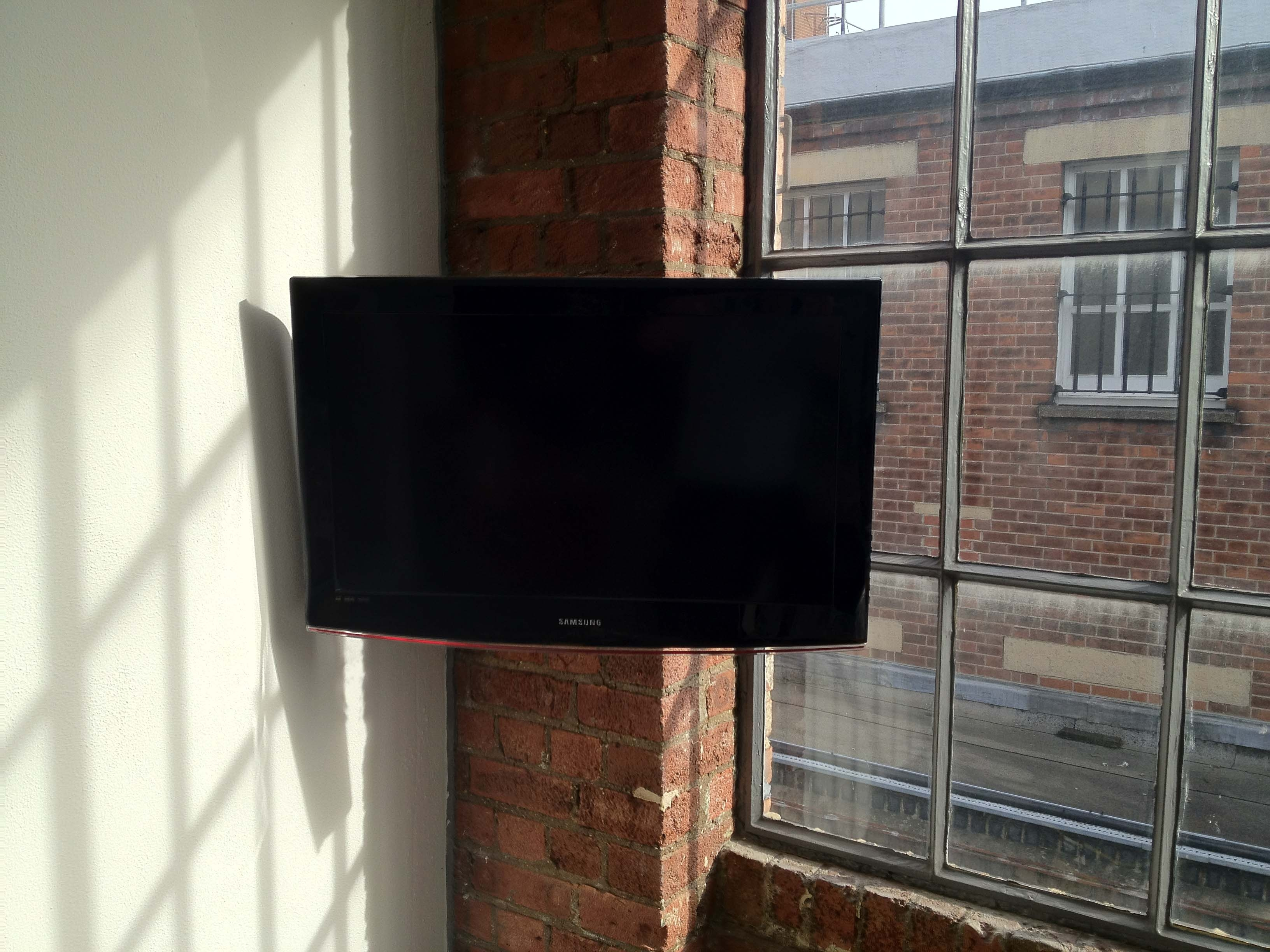 Corner Wall Mount Tv Storage With Red Brick Wall Panels And Large With Large Glass Corner Shelves (Image 8 of 15)