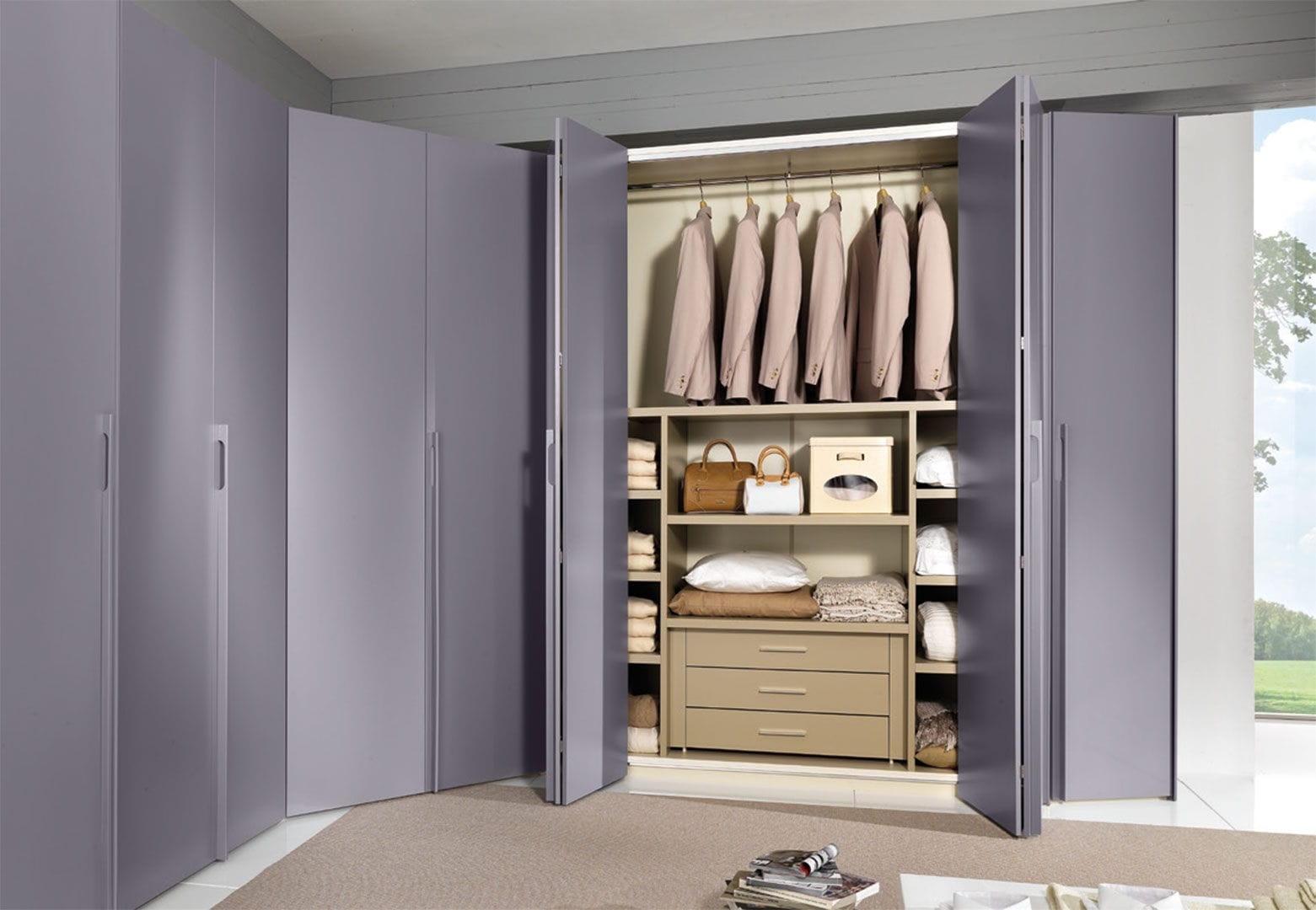 Corner Wardrobe Contemporary Lacquered Wood Folding Door Pertaining To Folding Door Wardrobes (View 23 of 25)