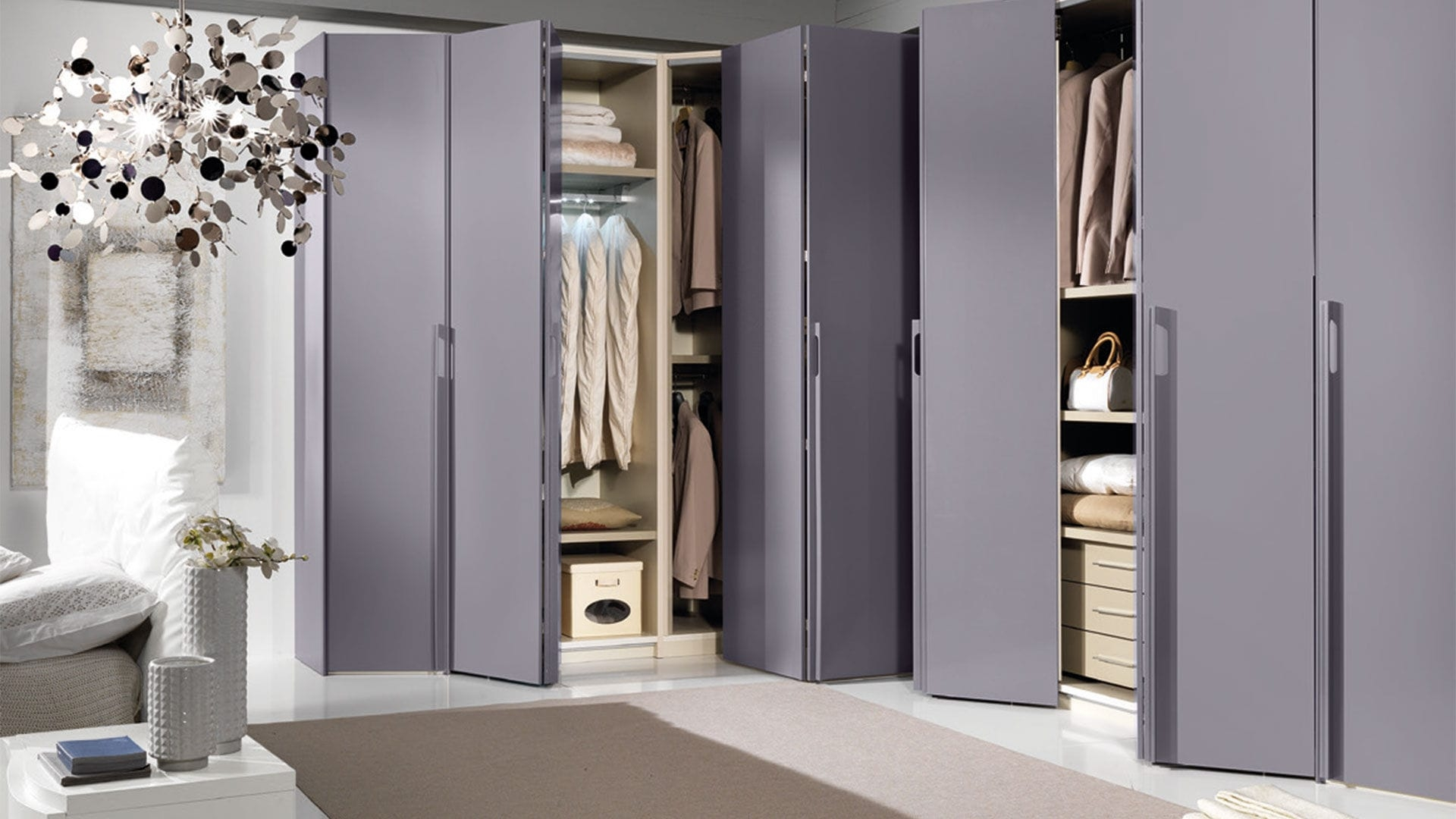 Corner Wardrobe Contemporary Lacquered Wood Folding Door Throughout Folding Door Wardrobes (View 4 of 25)