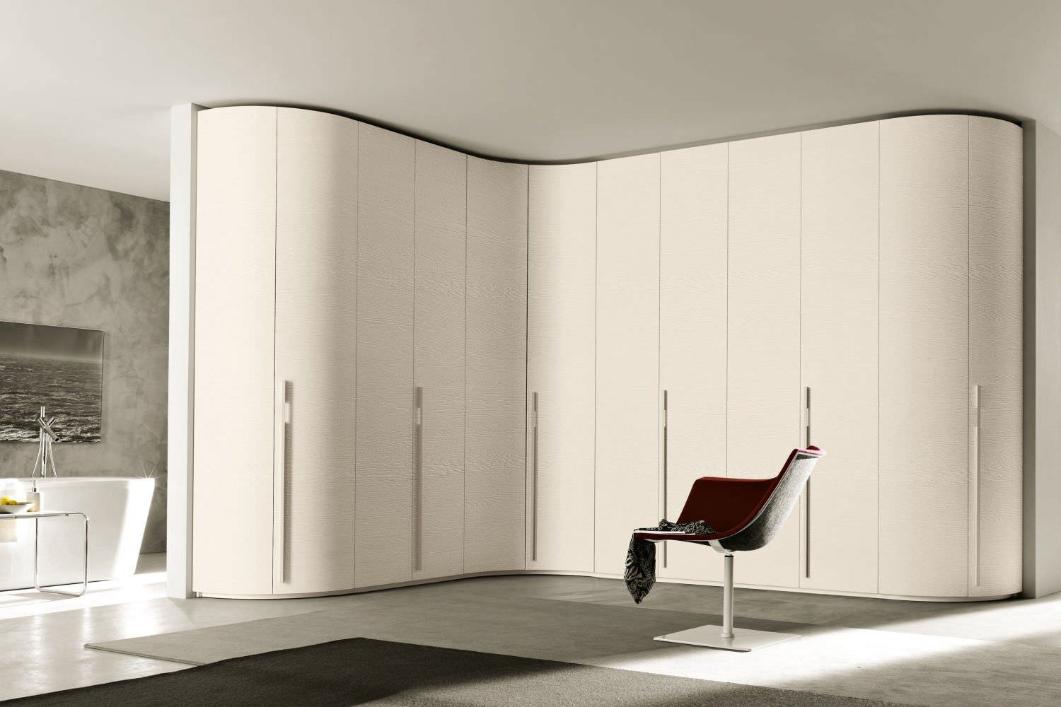 Corner Wardrobe Contemporary Wooden Glossy Lacquered Wood For Curved Wardrobe Doors (Image 1 of 15)
