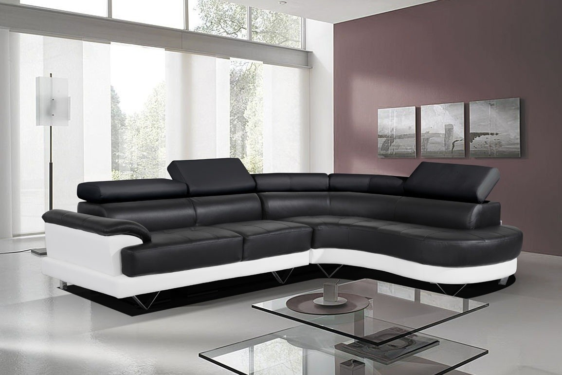 Cosmo Black And White Leather Corner Sofa Righthand More Views With White Leather Corner Sofa (Image 3 of 15)