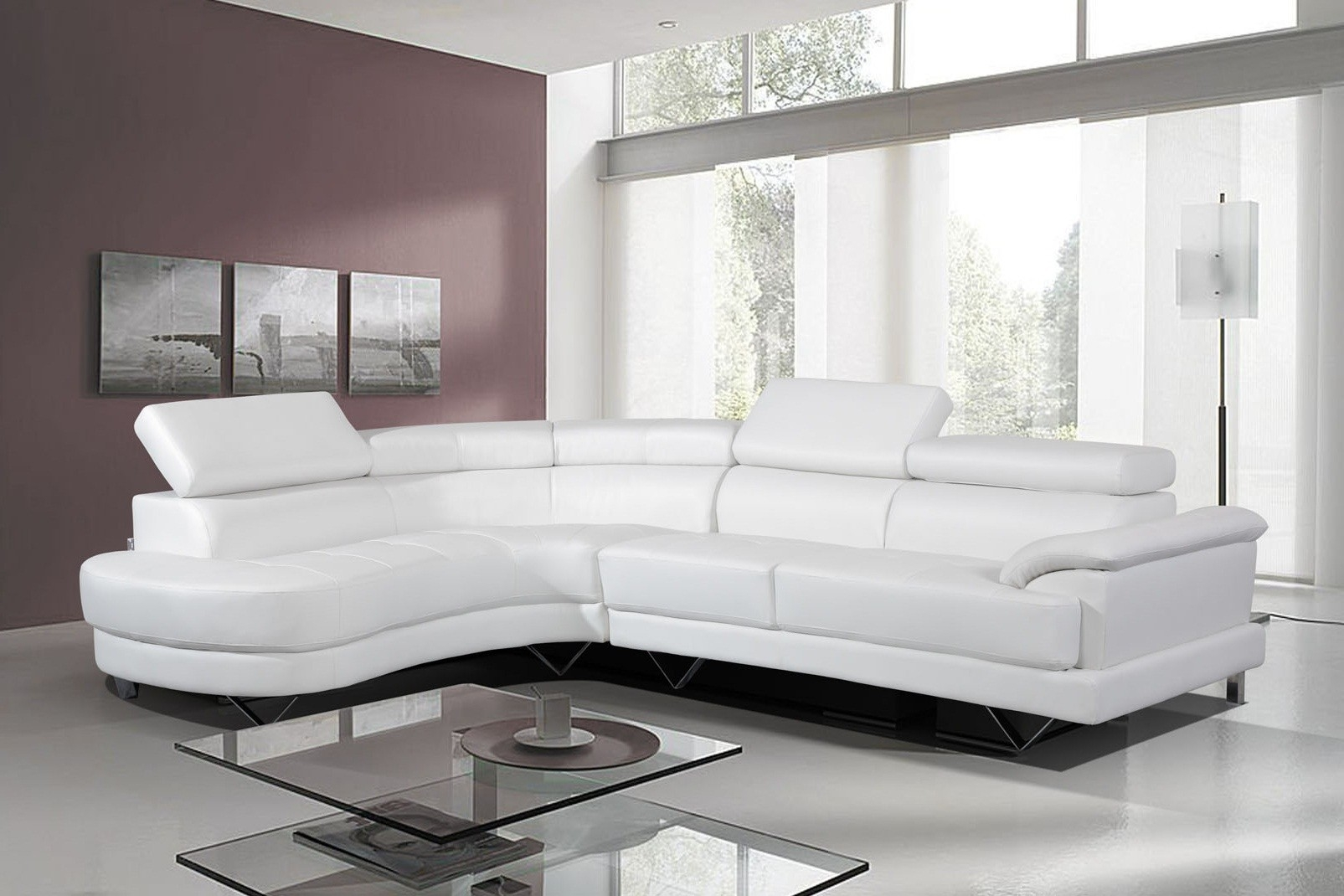 Featured Image of White Leather Corner Sofa