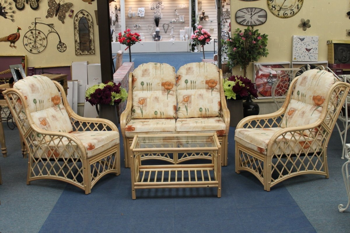 Country Cane Conservatory Furniture 4 Piece Set Sofa 2 Chairs Regarding Country Cottage Sofas And Chairs (Image 2 of 15)