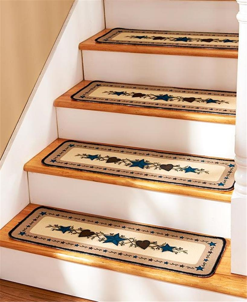 Country Star Design Non Skid Stair Treads Or Landing Rug Decor Ebay Pertaining To Country Stair Tread Rugs (Image 7 of 15)