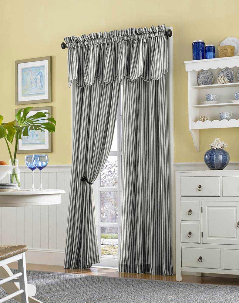 Country Stripe Cotton Casual Curtain Panel Curtainworks In Stripe Curtains (Image 6 of 25)