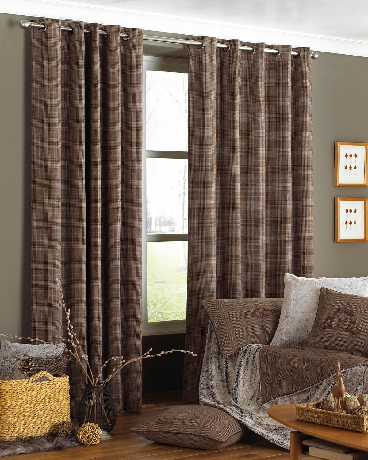 Courcheval Eyelet Curtains Brown Free Uk Delivery Terrys Fabrics With Regard To Brown Eyelet Curtains (View 16 of 25)