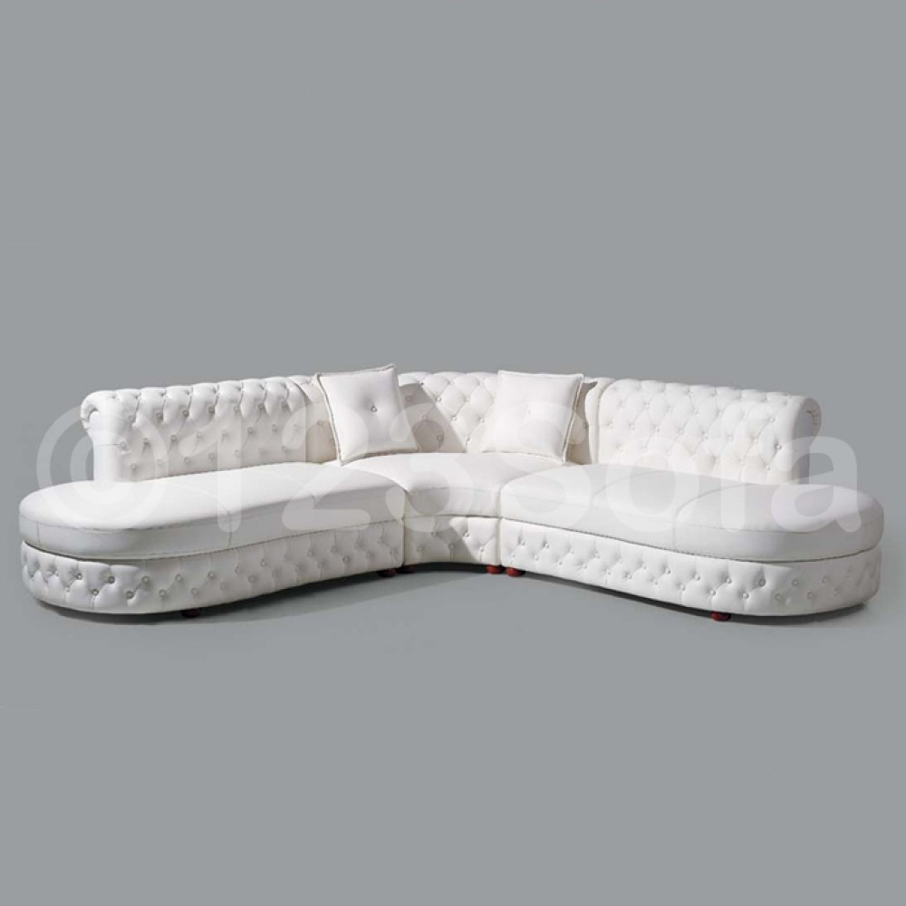 Cristo Leather Corner Sofa In White For White Leather Corner Sofa (Photo 15 of 15)