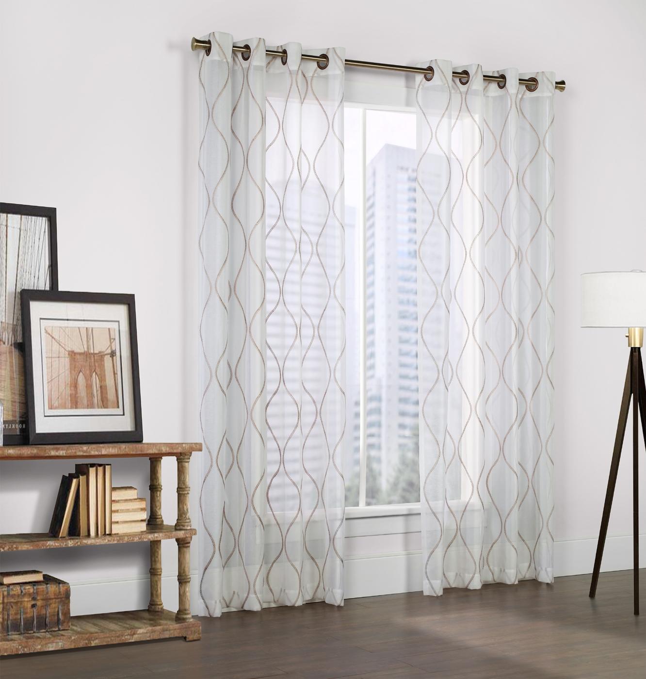 Crystal White Faux Linen Grommet Panel Couture Regarding Linen Grommet Curtains (Image 6 of 25)