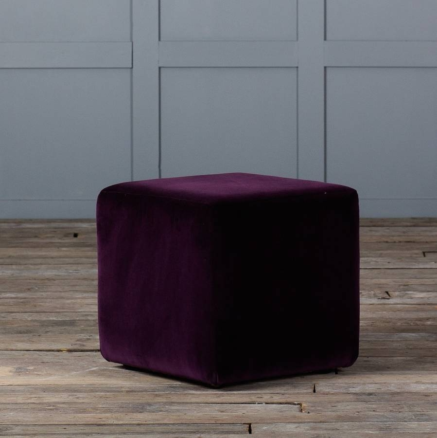 Cube Footstool In Leather Or Velvet Authentic Furniture Intended For Velvet Footstool (Image 7 of 15)