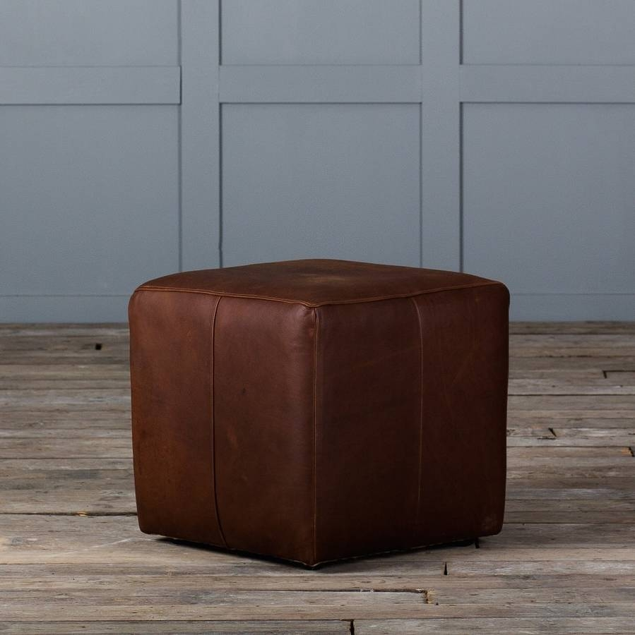 Cube Footstool In Leather Or Velvet Authentic Furniture Regarding Leather Footstools (Image 4 of 15)