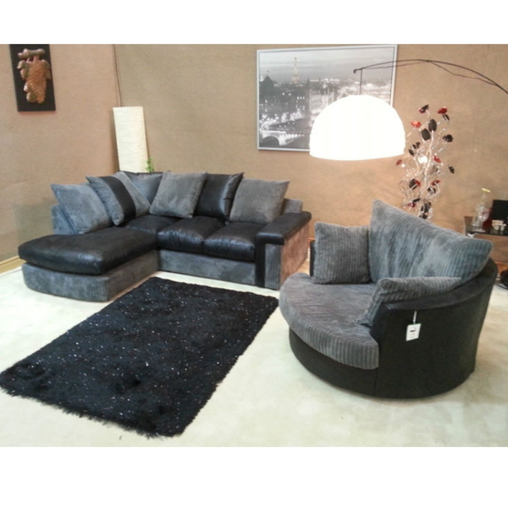 Cuddle Couch Verana Chaise Corner Sofa With Matching Swivel Pertaining To Cuddler Swivel Sofa Chairs (Image 3 of 15)