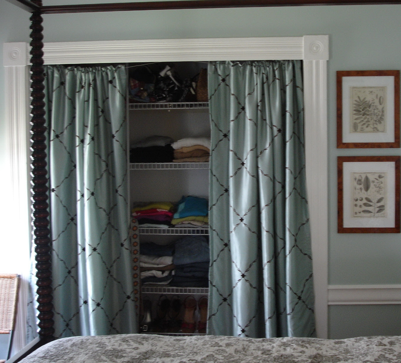 Curtain Closet Doors Opening Design Closet Organizer Regarding Fabric Door Curtains (Image 11 of 25)
