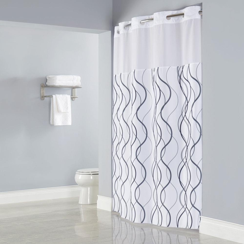 Curtain Ideas Hookless With Large White Shower Curtain With With Shower Curtain Wall Mounts (Image 7 of 25)
