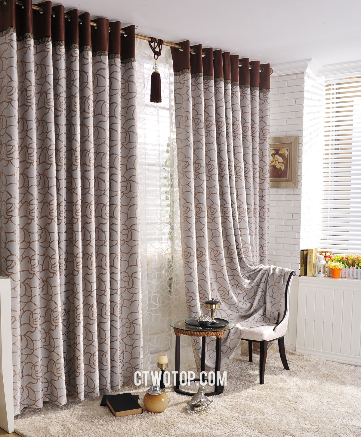 Curtain Plum Leaf Shab Chic Overstock Blackout Curtains Regarding Patterned Blackout Curtains (View 7 of 25)