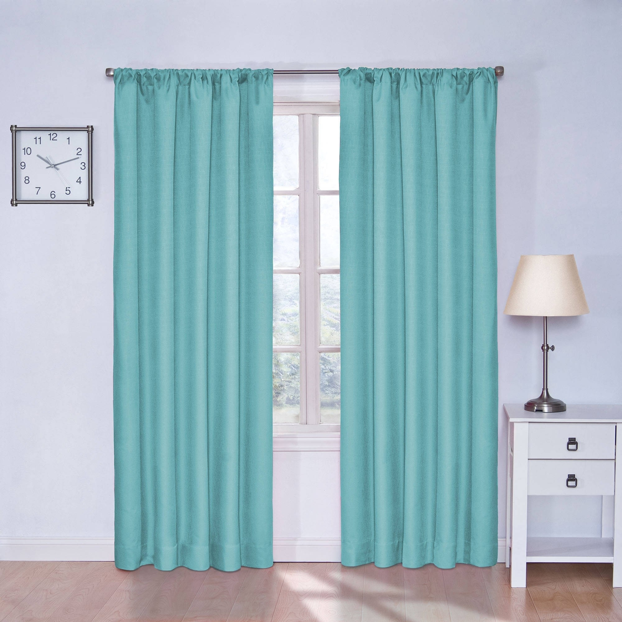 Curtain Teal Shab Chic Patterned Blackout Toile Cheap Modern With Regard To Patterned Blackout Curtains (View 3 of 25)