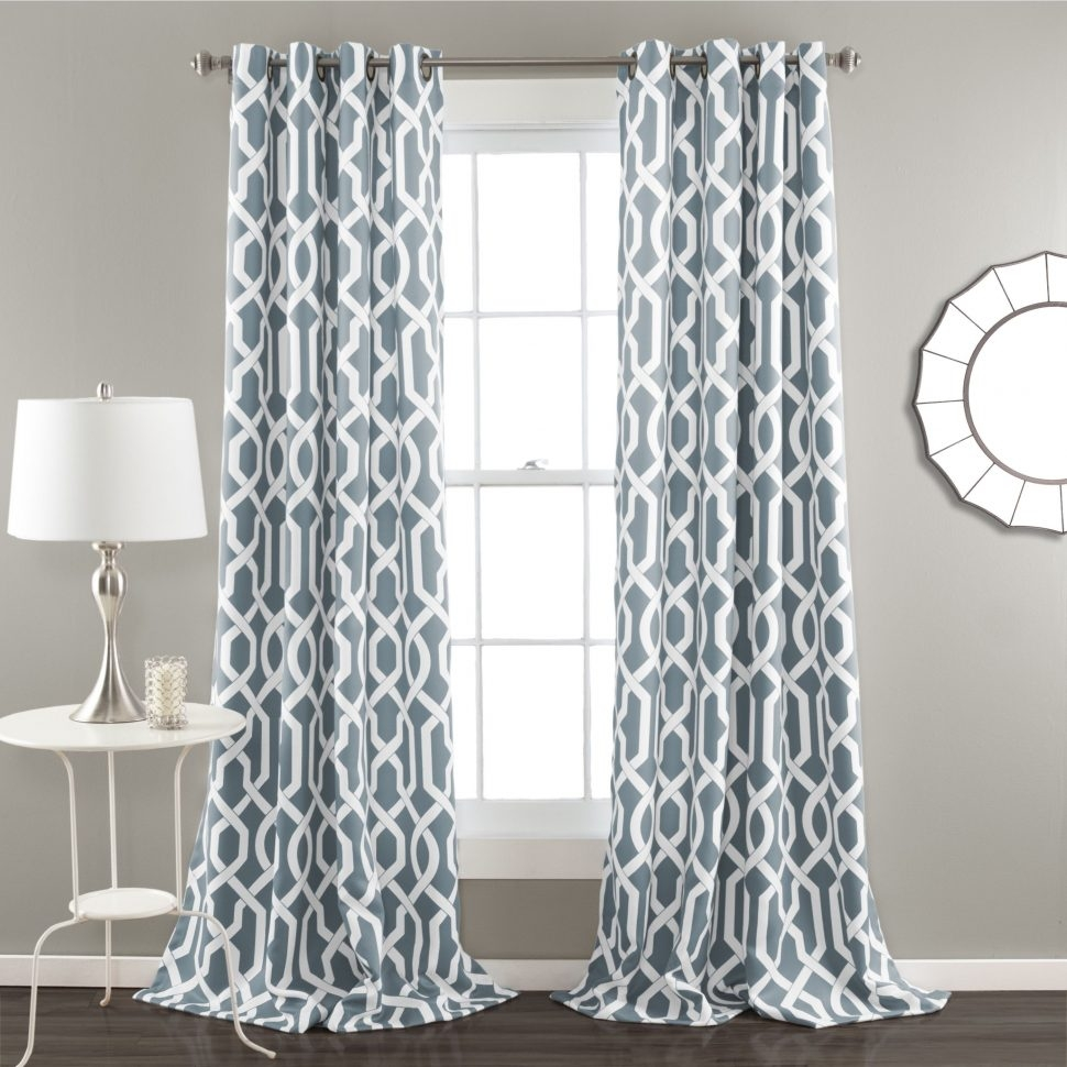 Curtain Trellis Insulated Grommet Top Curtains Thermal Drapes Regarding Turquoise Trellis Curtains (Image 11 of 25)