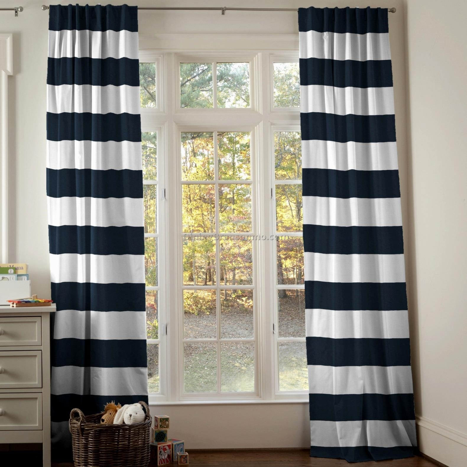 Curtains Burlapstyle Stripe Curtain Ring Top Blue Striped In Stripe Curtains (Image 7 of 25)