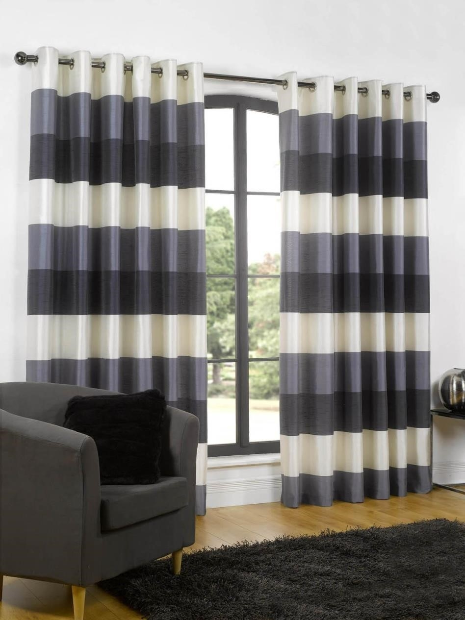 Curtains Effect And Impact With The Bottom Stripe Contrast Deep For Stripe Curtains (Image 8 of 25)